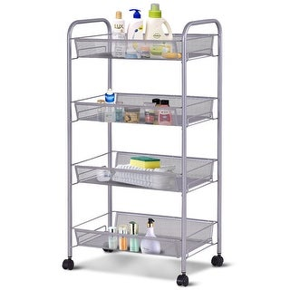 Costway 4 Tier Storage Rack Trolley Cart Home Kitchen Organizer Utility Baskets Sliver