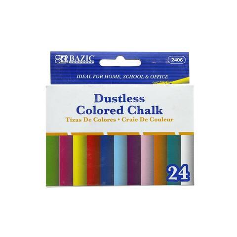 Bazic Chalk Colored Dustless 24pc - White - Medium
