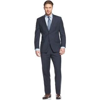 Tommy Hilfiger Nathan Blue Plaid Suit 44 Regular 44R Flat Front Pants 41W