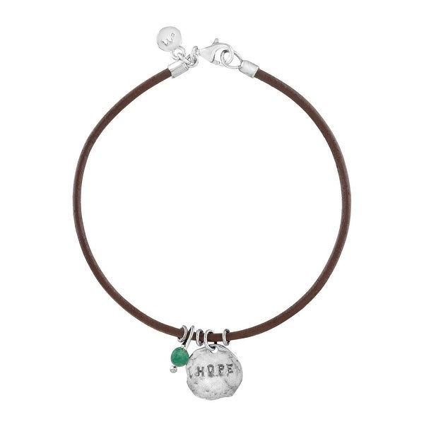 'Hope' Leather Charm Bracelet with Aventurine in Sterling Silver - Green