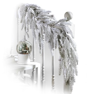 "Link to 48"" Flocked Weeping Noble Fir Garland Similar Items in Christmas Decorations"