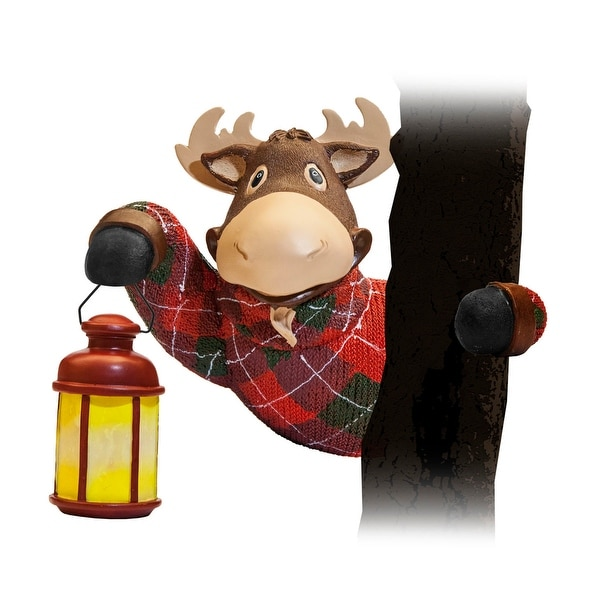 Christmoose Moose Tree Hugger - 11.0 in. x 6.0 in. x 9.0 in.