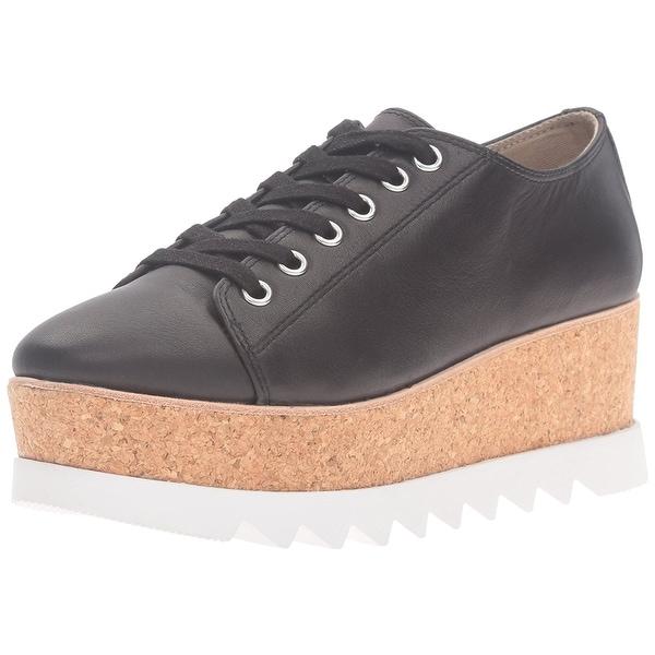 Steve Madden Women's korrie Fashion Sneaker, Black Leather, Size 8.5