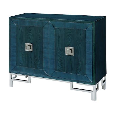 "Cobalt Blue 40""W 2 Door Cabinet with Chrome Hardware - 40""W x 35""H x 13.75""D"