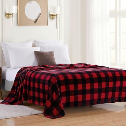 Sweet Home Collection Buffalo Check Blanket 100% Flannel Fleece Polyester