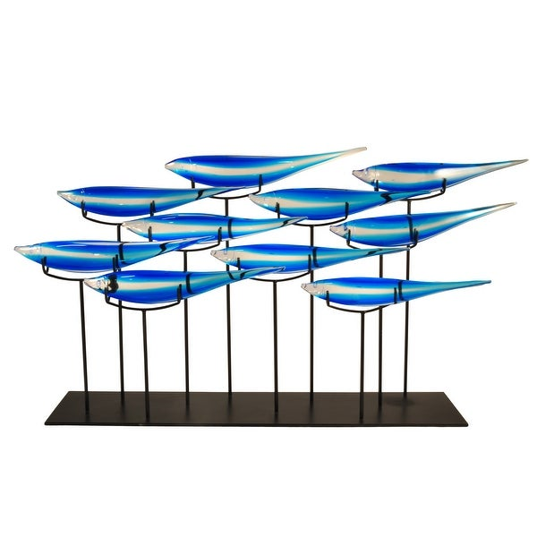 """31.75"""" Azure Blue and White Striped School of Fish Decorative Hand Blown Glass Sculpture with Black Base - N/A"""