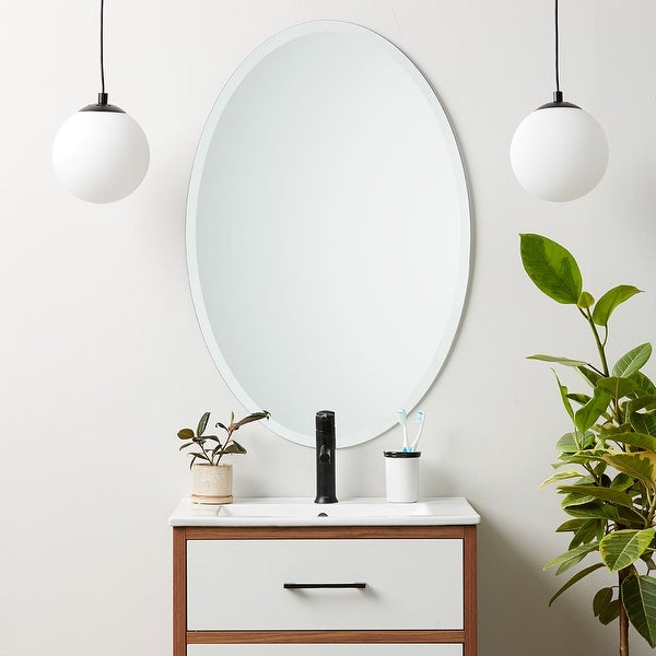 Frameless Beveled Oval Wall Mirror - Clear. Opens flyout.