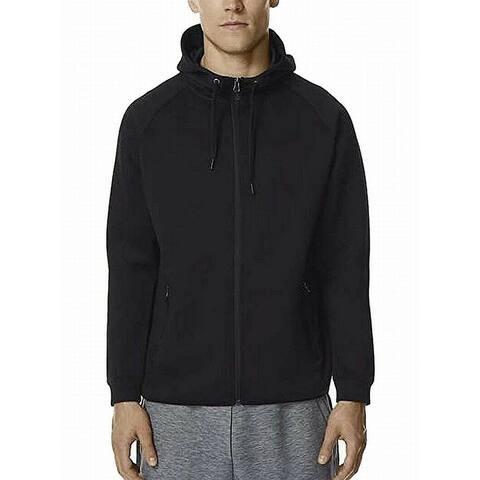 32 Degrees Mens Hoodie Black Size XL Full-Zip Drawstring Fleece Stretch