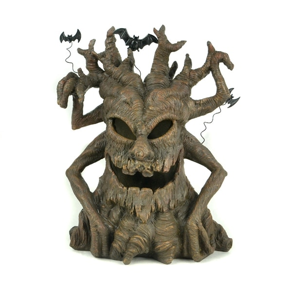 Halloween Spooky Tree Face.13 Brown Distressed Finish Led Spooky Halloween Tree With Face And Bats N A