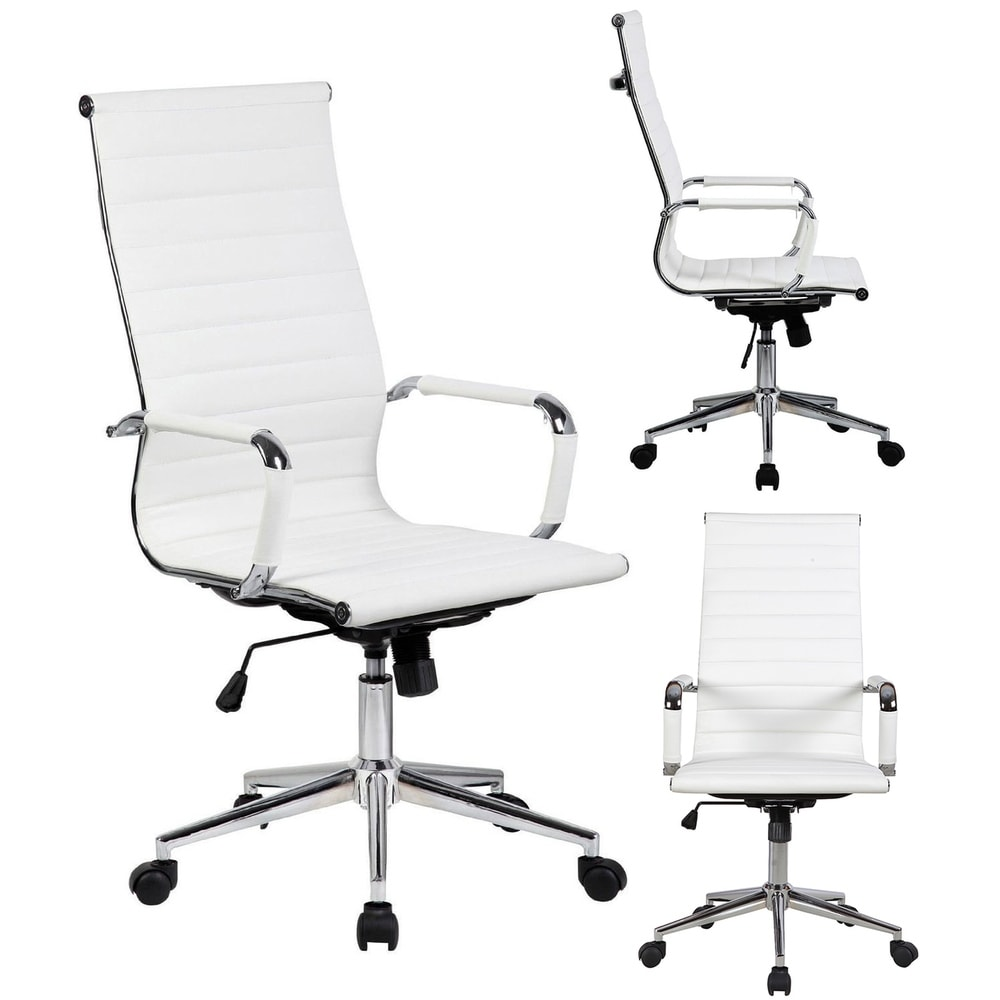 online retailer 95a9c 702e1 2xhome White Executive Ergonomic High Back Modern Office Chair Ribbed PU  Leather Swivel for Manager Conference Computer Desk