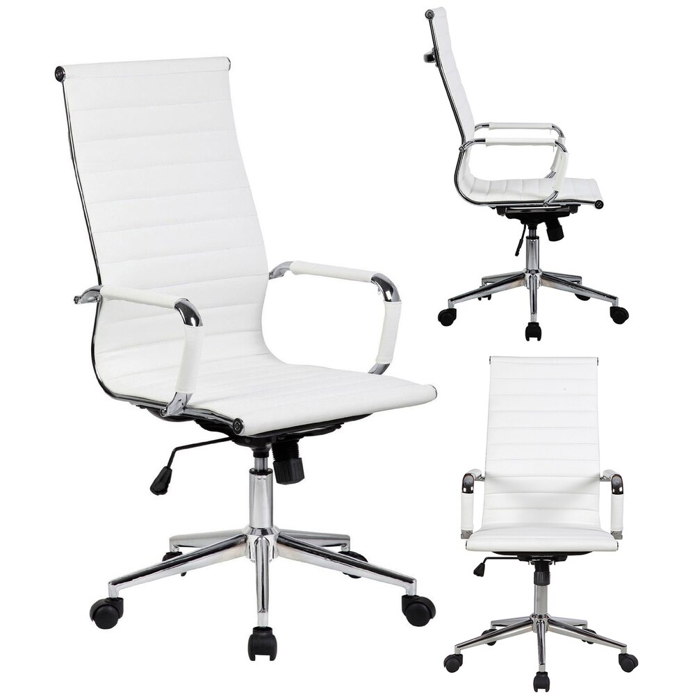 2xhome White Executive Ergonomic High Back Modern Office Chair Ribbed PU Leather Swivel for Manager Conference  sc 1 st  Overstock.com & Buy High Back Office u0026 Conference Room Chairs Online at Overstock ...