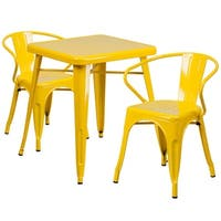 Brimmes 3pcs Square 23.75'' Yellow Metal Table w/2 Arm Chairs