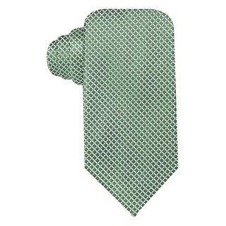 Geoffrey Beene Light Green Mini Grid Silk Blend Tie Classic Width Necktie