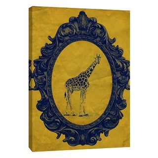 """PTM Images 9-105888  PTM Canvas Collection 10"""" x 8"""" - """"Framed Giraffe in Yellow"""" Giclee Giraffes Art Print on Canvas"""