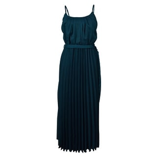 Signature Women's Belted Pleated Stripe Maxi Dress