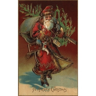 Christmas Greeting Santa & Gifts Vintage Holiday (100% Cotton Towel Absorbent)