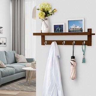 LANGRIA Coat Rack Shelf Wall-Mounted Bamboo Wooden Shelf with 5 Hooks