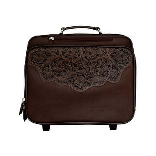 3D Western Luggage Carry On Pebble Lap Top Wheels Floral Brown ODL34