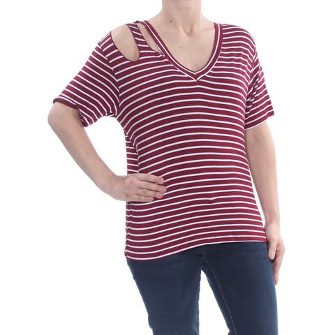 ULTRA FLIRT Womens Burgundy Cut Out Striped 3/4 Sleeve V Neck Top Size: S