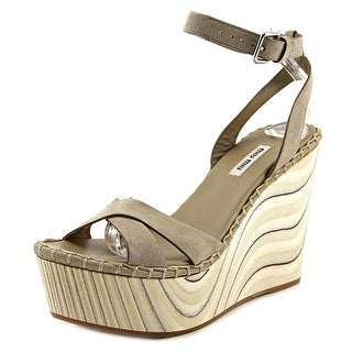 Miu Miu 5XZ258 Wedge   Open Toe Leather  Wedge Sandal