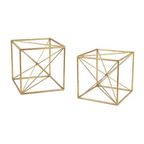 Elk Home 51-017/S2 Angular Study Cubic Decor - Set of Two - Gold