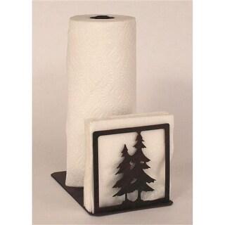 Iron Double Pine Tree Short Paper Towel & Napkin Holder - Burnt