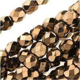Czech Fire Polished Glass Beads 4mm Round - Metallic Bronze (50)