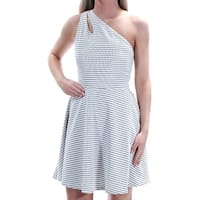 BAR III Womens White Check Sleeveless Asymetrical Neckline Above The Knee Fit + Flare Dress  Size: S