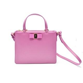 Salvatore Ferragamo Tracy Saffiano Crossbody Pink Satchel Bag