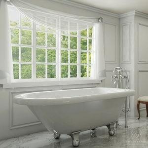 Pelham White Luxury 54 Inch Clawfoot Tub With Chrome Cannonball Feet