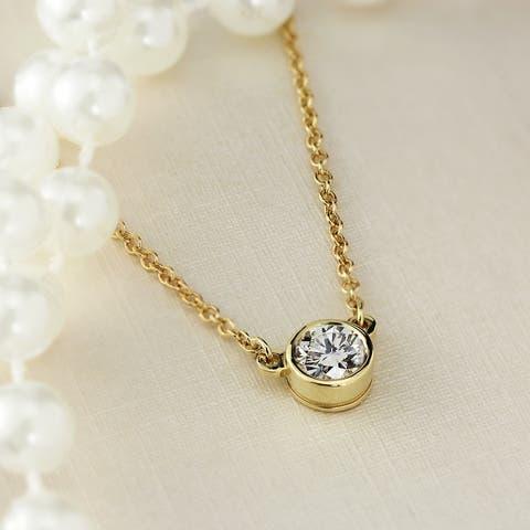 Auriya 1/4ctw Round Solitaire Diamond Necklace 14k Gold Bezel-set - 4mm