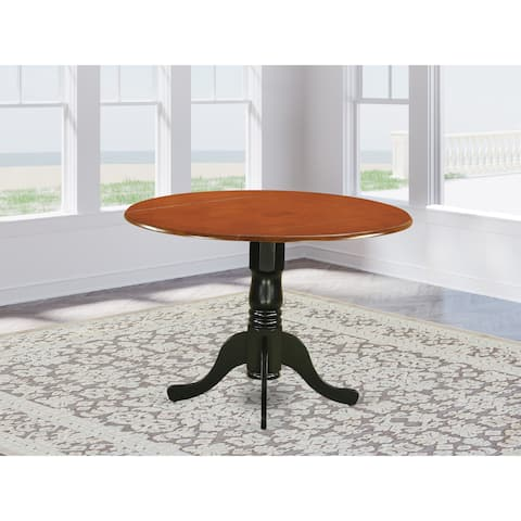 East West Furniture Round Table with Two 9-inch Drop Leaves (Finish Option available)
