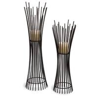 Set of 2 Captivating Contemporary Pillar Candle Holders - Brown