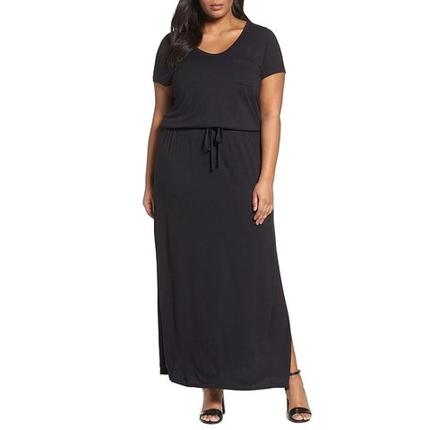 Caslon Black Womens Size 2X Plus Drawstring V Neck Maxi Dress