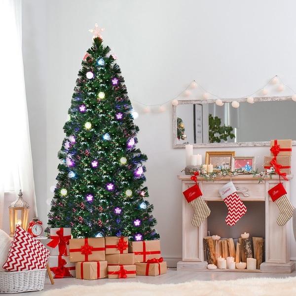 Fiber Optic Light Christmas Tree: Shop Costway 6Ft Pre-Lit Fiber Optic Artificial Christmas