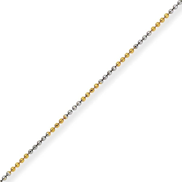 Chisel White and Yellow Rhodium over Brass 1.50mm 2 Color plated Ball Chain - 24 Inches (1.5 mm) - 24 in