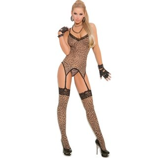 Plus Size Leopard Camisole And Stockings - queen size