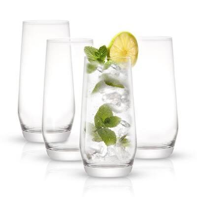 JoyJolt Gwen 18 oz Highball Glasses Set of 4 Drinking Glasses