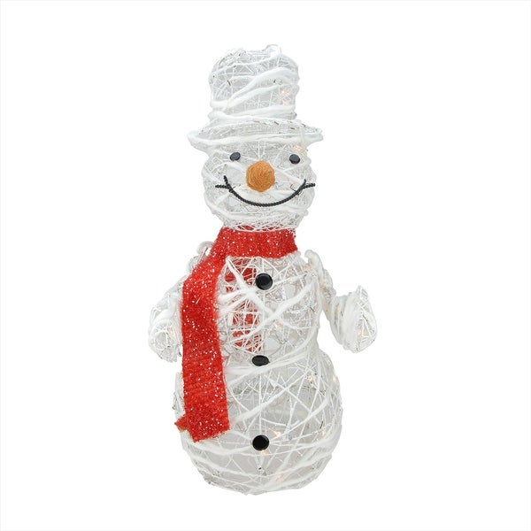 "28"" Lighted White Glittered Rattan Snowman Christmas Outdoor Decoration"