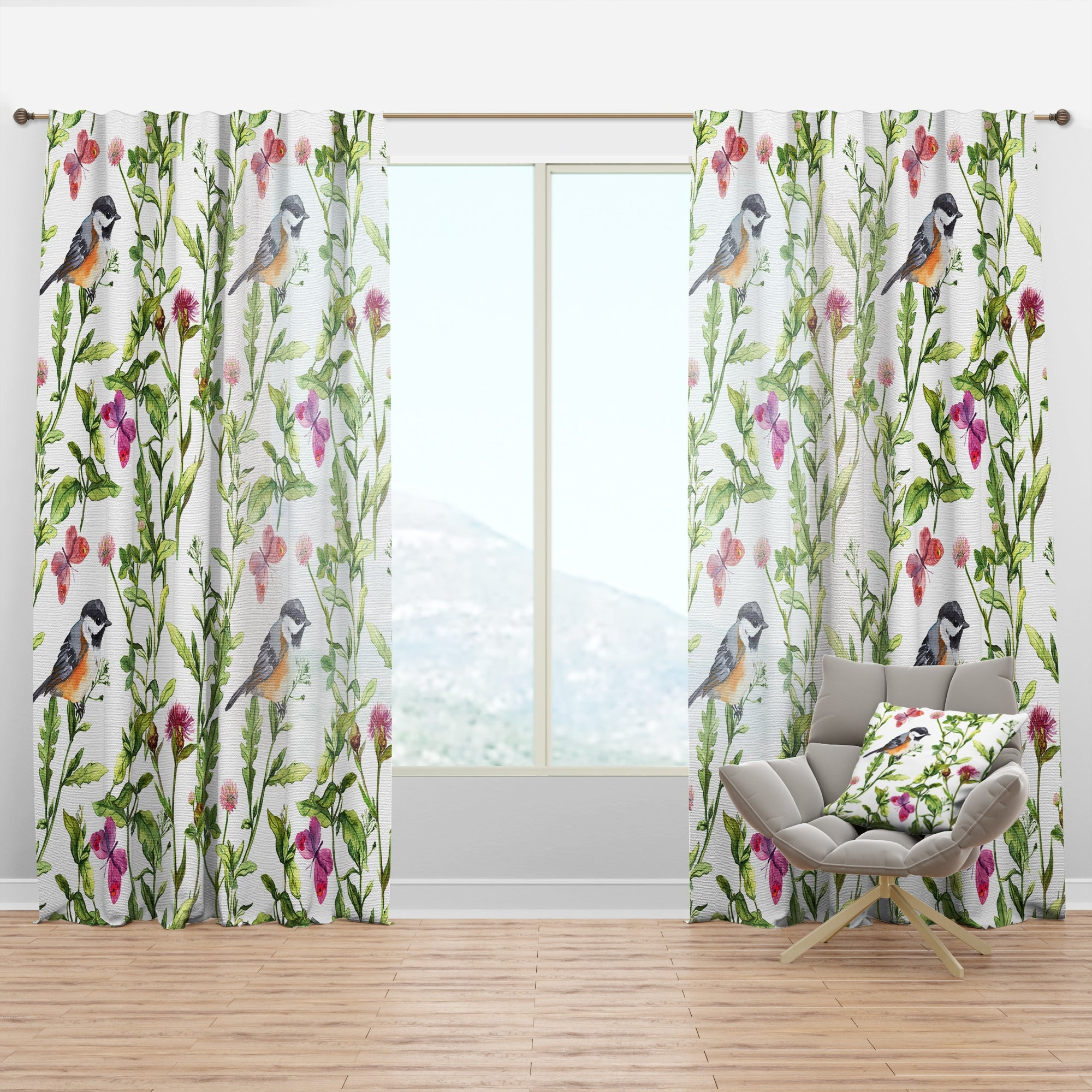 Designart Meadow With Butterflies Birds And Herbs Floral Curtain Panel On Sale Overstock 29625577
