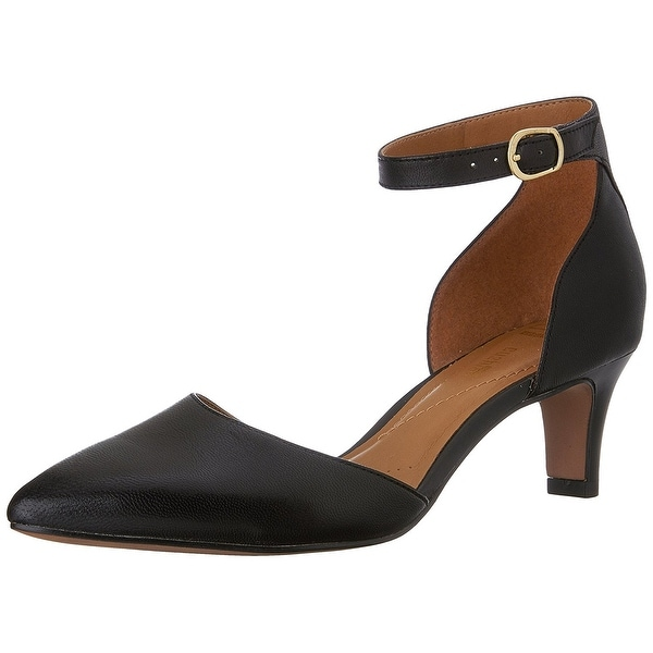 CLARKS Womens Crewso Leather Pointed Toe Ankle Strap D-orsay Pumps