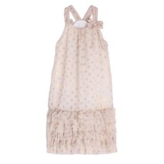 Isobella & Chloe Girls Taupe Reflective Polka Dots Ruffle Strap Party Dress