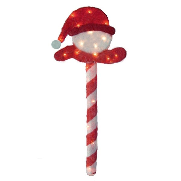 "40"" Lighted Peppermint Twist Sisal Christmas Candy Cane Snowball Outdoor Decoration"