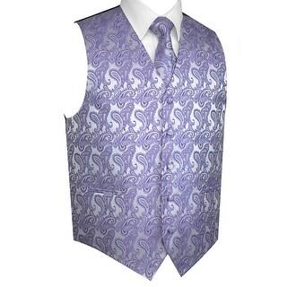 Men's Formal Tuxedo Vest, Tie & Pocket Square Set-Lavender Paisley-XS