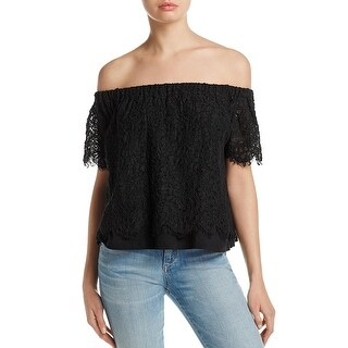 Generation Love Womens Carly Lace Casual Top Lace Off the Shoulder