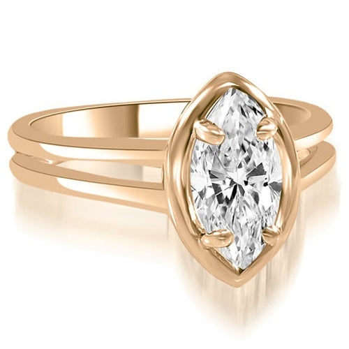 1.00 cttw. 14K Rose Gold Split Shank Marquise Cut Halo Diamond Engagement Ring