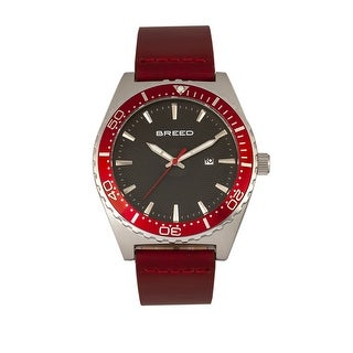 Breed Ranger Leather-Band Watch w/Date - Red/Silver/Black