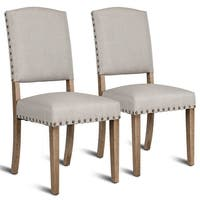 Costway Set of 2 Nailhead Dining Side Chair Fabric Upholstered w/ Solid Wood Legs Beige