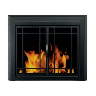 "Pleasant Hearth EA-5010  Easton Prairie 28"" H x 37.5"" L Small Cabinet Style Fireplace Screen with 9-Pane Smoked Glass Doors"