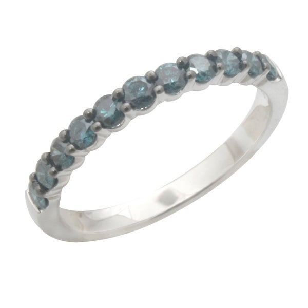 0.50 Carat Round Brilliant Cut Real Blue Color Trated Diamond Wedding Band